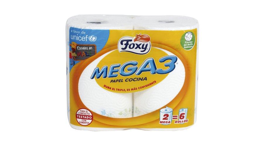 2 Rollos de papel Mega 3 a 1,99